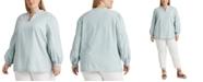 Lauren Ralph Lauren Plus-Size Chambray V-Neck Top