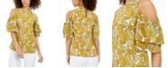 Michael Kors Paisley-Print Cold-Shoulder Ruffled-Sleeve Top