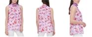 Calvin Klein Floral-Print Smocked-Neck Top