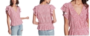 1.STATE Plus Size Ruffle-Sleeve Floral-Print Top