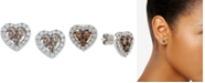 Le Vian Diamond Heart Stud Earrings (1-3/8 ct. t.w.) in 14k White Gold
