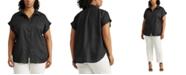 Lauren Ralph Lauren Plus Size Linen Dolman-Sleeve Top