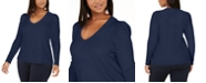 INC International Concepts INC Plus Size Ribbed-Knit Puff-Sleeve Top, Created for Macy's