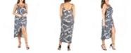 24seven Comfort Apparel Women's Plus Size Spaghetti Strap Midi Wrap Dress