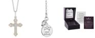 "Hallmark Diamonds Cross Blessings pendant (1/5 ct. t.w.) in Sterling Silver & 14k Gold, 16"" + 2"" extender"