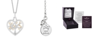 "Hallmark Diamonds Heart Family Tree Strength pendant (1/10 ct. t.w.) in Sterling Silver & 14k Gold, 16"" + 2"" extender"