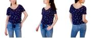 Hippie Rose Juniors' Tie-Front V-Neck Top