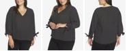 CeCe Plus Size 3/4 Tie Sleeve Heirloom Dot Top