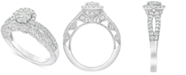 Macy's Diamond (1 ct. t.w.) Halo Cluster Engagement Ring in 14k White Gold