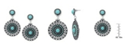 Macy's Simulated Turquoise Silver Plated Medallion Wire Earrings