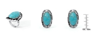Macy's Simulated Turquoise in Silver Plated Oval Stripe Design Ring