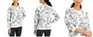 Karen Scott Paradise Oasis Printed Flocked Sweatshirt, Created for Macy's