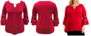 JM Collection Plus Size Bell-Sleeve Keyhole Top, Created for Macy's