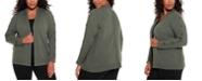 Belldini Black Label Women's Plus Size Grommet and Toggle Trim Open Cardigan