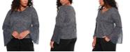 Belldini Black Label Women's Plus Size Star Print Pleated Chiffon Sleeve Top