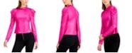 Bar III Metallic Long Puffed Sleeve Top, Created for Macy's