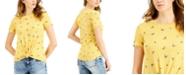 Self Esteem Juniors' Butterfly Printed Knot-Front T-Shirt
