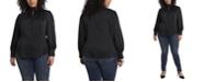 Vince Camuto Women's Plus Size Long Sleeve Keyhole Mock Neck Blouse