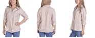 NY Collection Women's Button Front Blouse with Wide Cuff