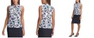 Calvin Klein Floral-Print Tie-Neck Top