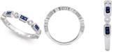 Macy's 14k White Gold Sapphire (1/3 ct. t.w.) and Diamond (1/5 ct. t.w.) Alternating Ring