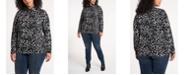 Vince Camuto Women's Plus Size Animal Whisper Print Knit Top
