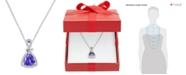 """Macy's Tanzanite (1-1/10 ct. t.w.) and Diamond (1/4 ct. t.w.) Triangle 18"""" Pendant Necklace in 14k White Gold"""