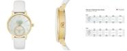 kate spade new york Women's Metro White Leather Strap Watch 34mm KSW1317
