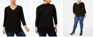 Michael Kors Plus Size Mixed-Media V-Neck Tunic