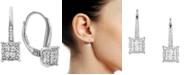 Macy's Diamond Cluster Drop Earrings (1/2 ct. t.w.) in 14k White Gold
