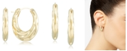 Signature Gold Diamond Accent Draped Oval Hoop Earrings in 14k Gold over Resin