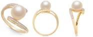 Macy's Cultured Freshwater Pearl (8mm) & Diamond Accent Ring in 14k Gold