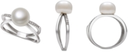 Macy's Cultured Freshwater Pearl (9mm) & Cubic Zirconia Crisscross Ring in Sterling Silver