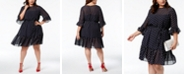Betsey Johnson Plus Size Ruffled Polka-Dot Dress