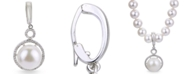 Macy's White Cultured Freshwater Pearl and White Topaz Enhancer in Sterling Silver