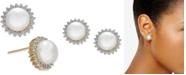 Macy's Cultured Freshwater Button Pearl (8-1/2mm) & Diamond (3/8 ct. t.w.) Stud Earrings in 14k Gold