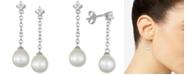 Macy's Cultured Freshwater Pearl (8mm) & Cubic Zirconia Flower Chain Earrings in Sterling Silver