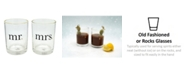 TMD Holdings Mr. and Mrs. Hearts Gold Rim 2-Pc. Rock Glasses