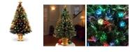 "National Tree Company National Tree 48"" Fiber Optic Fireworks Tree with Ball Ornaments"