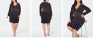 XSCAPE Plus Size Long-Sleeve Embellished Bodycon Dress