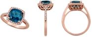 Macy's London Blue Topaz (3-3/4 ct. t.w.) & Diamond (1/5 ct. t.w.) Ring in 14k Rose Gold