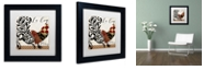 """Trademark Global Color Bakery 'Roosters Of Paris Ii' Matted Framed Art, 11"""" x 11"""""""