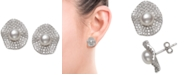 Macy's Cultured Freshwater Pearl (6mm) & Cubic Zirconia Button Stud Earrings in Sterling Silver