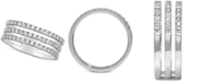 Macy's Diamond (1/2 ct. t.w.) 3-Row Ring Set in 14k White Gold