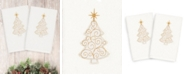 Linum Home Christmas Tree Scroll 100% Turkish Cotton 2-Pc. Hand Towel Set