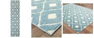 "Oriental Weavers Barbados 5502B Blue/Ivory 1'10"" x 7'6"" Indoor/Outdoor Runner Area Rug"