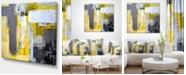 "Design Art Designart Grey And Yellow Blur Abstract Abstract Canvas Art Print - 40"" X 30"""