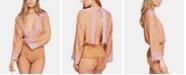 Free People Printed Plunging Bell-Sleeve Bodysuit