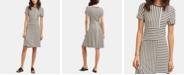 DKNY Short-Sleeve Crewneck Striped Dress