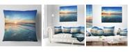 "Design Art Designart 'Blue Seashore With Distant Sunset' Seascape Throw Pillow - 16"" x 16"""